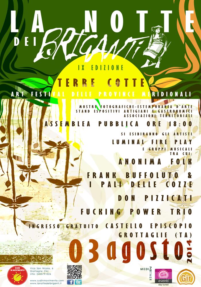 TERRE COTTE – Il 3 agosto torna La Notte dei Briganti, IX Edizione!